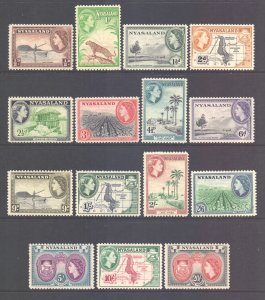 Nyasaland Scott 97/111 - SG173/187, 1953 Elizabeth II Set MH*