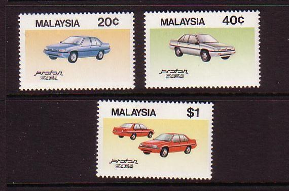 Malaysia Sc 305-7 1985 Auto Industry stamp set mint NH