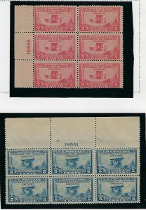 US #649-650 1928 AERONAUTICS CONFERENCE - PLATE# BLOCK OF 6  -MINT NEVER HIGED