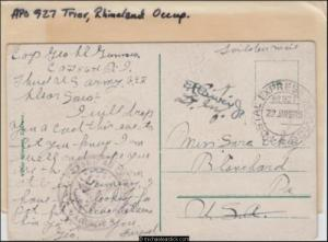 Germany 1919 (Jan) Censored Military Post Card Coblenz to Blanchard PA USA