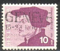 Huldreich Zwingli, Theologian, Switzerland stamp SC#502 used