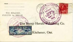 United States U.S. First Flight Canada 3c Red KGV Admiral Waterloo, Ont. to W...