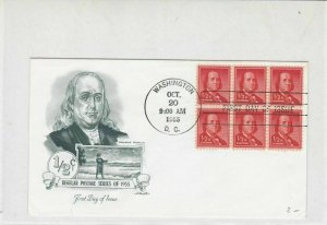 United States 1955 Regular Post Series of 1955 Franklin FDC Stamps Cover Rf29872
