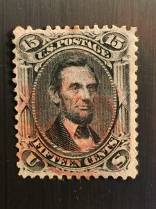 PRICE REDUCED TO LIQUIDATE 1866 15c black lincoln beauty,No GRILL