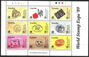 Lesotho. 1989. Small sheet 801-9. History of Mail, Horse, Cancellation. MNH.