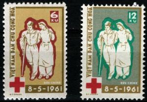 North Vietnam Sc #156 & 157 - International Red Cross - 1961 Perf 11