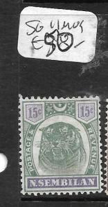 MALAYA NEGRI SEMBILAN (P1412B) TIGER 15C  SG 11  MOG