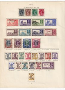 INDIA  GEORGE 6TH CROWN ALBUM PAGE USED TO 10 RUPEE'S