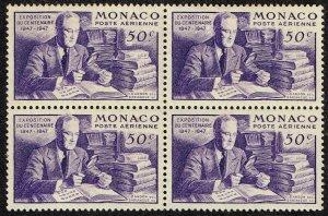 MONACO STAMP 1947 Airmail - International Stamp Exhibition  MH/OG BLK OF 4