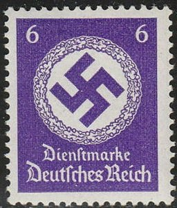 Stamp Germany Official Mi 169a Sc O95 1942 WWWII War Era Occupation Dienst MNH