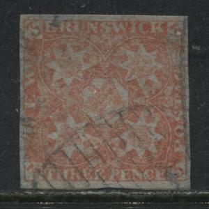 New Brunswick 1851 3d red imperf with 4 margins used