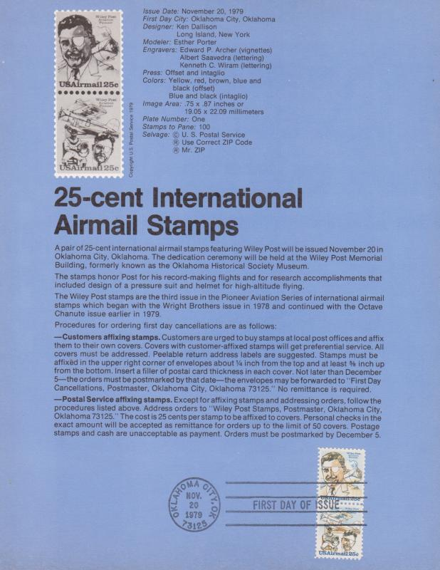 1979 WILEY POST INT'L AIRMAIL FDC SOUVENIR PAGE
