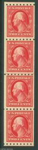 UNITED STATES SCOTT 2c WASHINGTON #391 GUIDE LINE PAIR STRIP OF FOUR MINT NH OG
