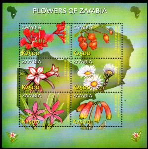 ZAMBIA 989, 991-992, 994 MNH S/S SCV $23.25 BIN $14.00 FLOWERS & MUSHROOMS