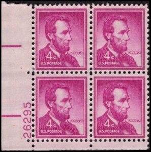 US #1036a ABRAHAM LINCOLN MNH LL PLATE BLOCK #26295 DURLAND .50¢