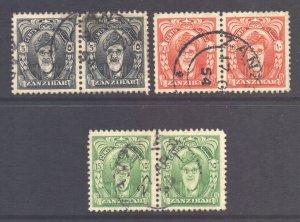 Zanzibar Scott 230/232 - SG339/341, 1952 Sultan 5c - 15c Pairs used