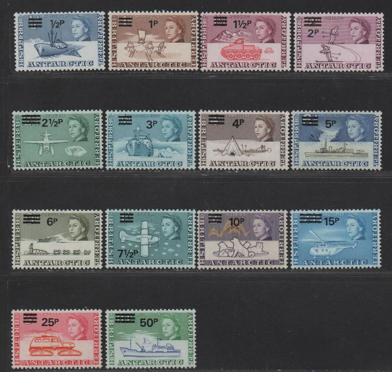 $British Antarctic Territory Sc#25-38 M/NH/VF, complete set, Cv. $133