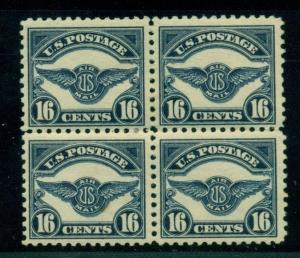 US #C5 16¢ dark blue, Block of 4, LH w/bit of black offset, VF