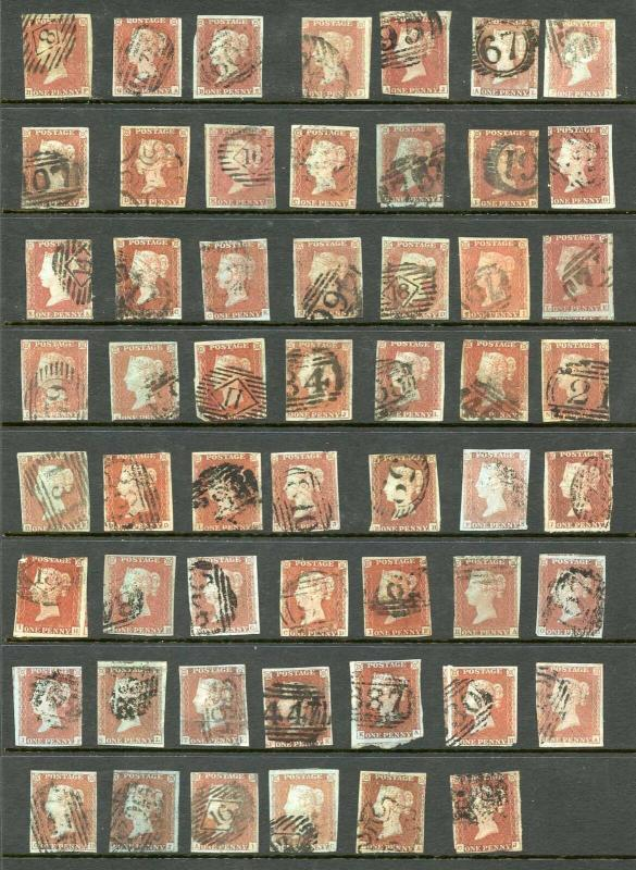 Selection of 1841 Penny Reds (55 stamps)