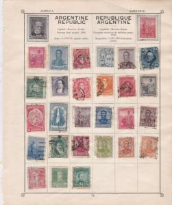 Argentina Republic Stamps on Album Page ref  R 18840