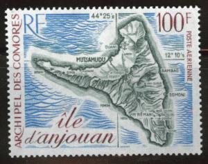 Comoro Islands Scott C49 MNH** 1972 100fr map airmail  CV $11