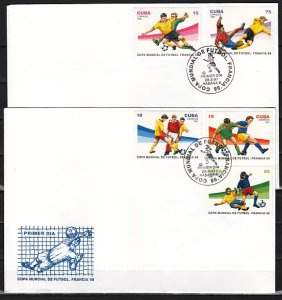 Cuba, Scott cat. 3815-3819. World Cup Soccer issue. First day covers. ^