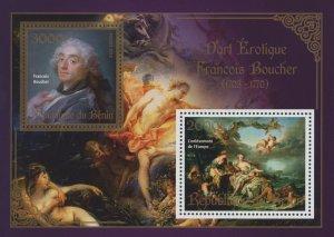 Erotic Art Paintings Francois Boucher Souvenir Sheet of 2 Stamps Mint NH