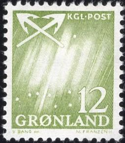 Greenland 51 - Mint-NH - 12o Northern Lights / Crossed Anchors (1963) (cv $0.40)