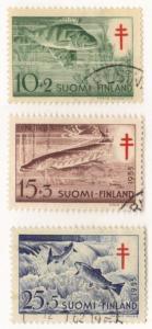 Finland #B129-31 used cpl semipostals - fish