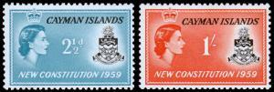 Cayman Islands Scott 151-152 (1959) Mint H F-VF M