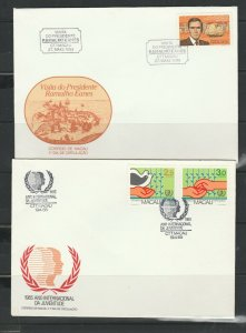 Macao, 4 Illus unaddressed FDCs 1985/6 as shown, Neat & Clean