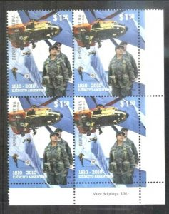 ARGENTINA 2010 MILITARIA 200° ANIV ARMY SOLDIER HELICOPTER BLOCx4 YV 2840 Mnh