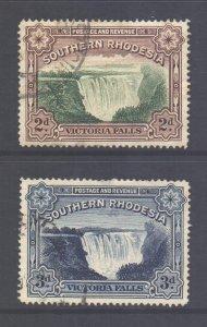 Southern Rhodesia Scott 37/37a - SG35a/35b, 1935 Victoria Falls Set used
