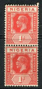 NIGERIA; 1921 early GV issue fine Mint hinged Shade of 1d. pair