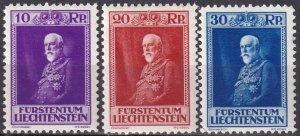 Liechtenstein  #111-3  F-VF Unused    CV $63.00 (Z3159)