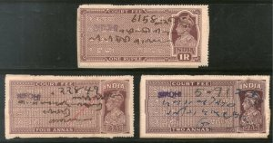 India Fiscal Sirohi State KG VI 3 Diff. Court Fee Type5 Revenue Stamp # 1088