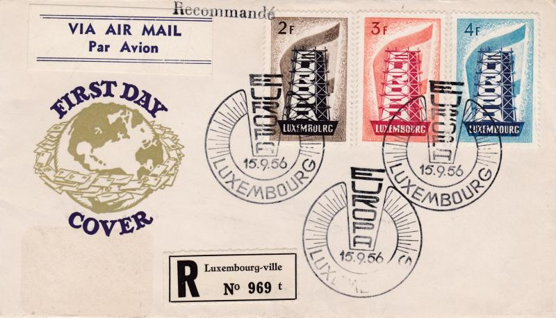 Luxembourg 1956 Europa (3) on Clean Registered First Day Cover
