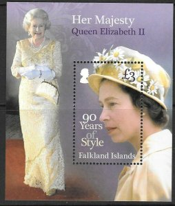FALKLAND ISLANDS SGMS1352 2016 QUEEN'S 90th BIRTHDAY MNH