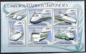 Guinea-Bissau MNH S/S Rapid Japanese Trains