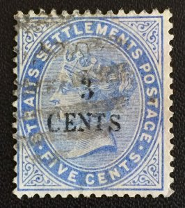 Malaya Straits Settlement 1885 QV 3c on 5c Used SG#82 M2306