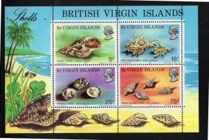 VIRGIN ISLANDS #277a  1974  SEA SHELLS        MINT VF NH O.G  S/S