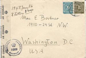 Germany, Scott #543 & 547 on 1948 British Censor Cover, Sent to Washington, D.C.