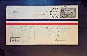 Canada 1928 First Flight Cover Montreal to Albany NY - Z1333