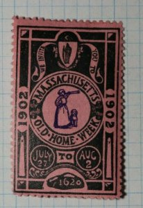 Massachusett Old Home Week 1902 Company Brand Ad Poster Stamp