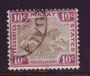 Malaya Sc 23a 1901 10 c tiger stamp used