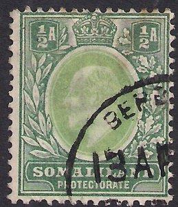 Somaliland 1904 KEV11 1/2d Dull Green SG 32 Wmk CA ( F610 )
