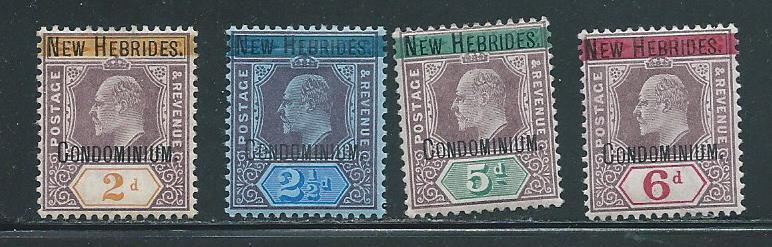 New Hebrides British 2-5 SHORT set MNH