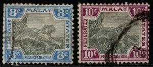 $Malaya Sc#22a, 23a used, part set, wmk 2, Cv. $27