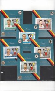 Ajman German Soccer Stars 1969 CTO Set of 6 Sheets + Extras