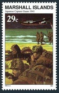 Marshall 292 two copies,MNH.Mi 390. WW II,Japanese capture Guam,Dec.10,1941,1991